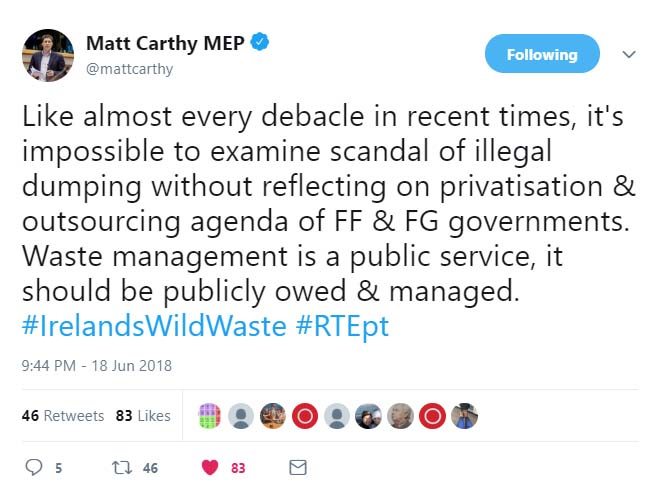 Waste Management Tweet Matt Carthy MEP
